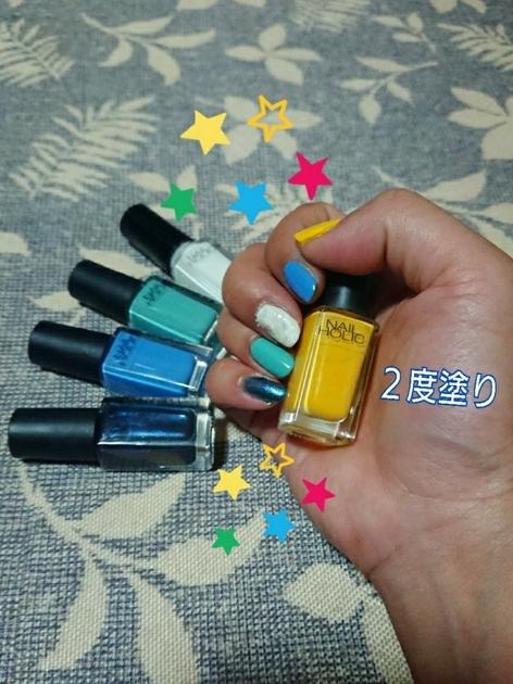 【夏色ネイル】  毎日の気分をあげるネイル♪  夏色のブルー系に、ワンポイントで黄色を使ってます☆  元気がでるカラー【YE502】試してみてください(^ー^)