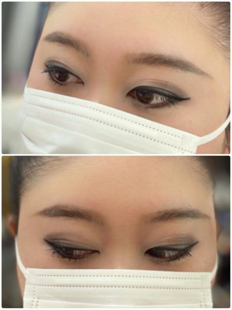 マスク生活でも目元を華やかに彩るスモーキーアイメイク  発色が良く透明感のあるネバーランド(55番)を加える事で、重たくない仕上がりになります♡ 切れ長のアイラインで涼やかな印象に。アイブロウも少し長めに描いてあげると、バランスの良い小顔が目指せます。