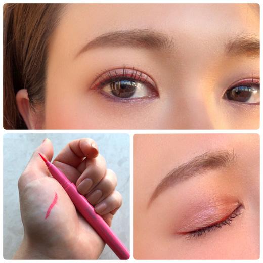 《BCの休日メイク☆》  仕事用とはまた違うわたしの休日メイクを紹介します。   少しメイクで遊びたいなという時はアイラインの色を変えています。  今回はピンクのアイシャドウに合わせて明るいピンクのリキッドアイライナーを使用しました。  ピンクのアイライナーだけだと目力が出ないので、まつ毛の間は茶色のリキッドアイライナーで埋め、その上にピンクのラインを重ねています。  筆にコシがあるので細いラインが引きやすく、滲みにくいです。  使うことに勇気が無い色でもアイライナーだとさりげなくチャレンジできます☆   眉はいつもより明るいブラウンの眉マスカラを使用しています。  この眉マスカラ、繊維入りで眉にボリュームが出る優れもの!  昔、眉を抜きすぎて生えて来なくなっちゃった〜!というわたしのような薄眉さんにおすすめですよ!   休日はしっかりファンデーションを肌にのせない変わりに、ヴィセのトーンアッププライマーで肌に透明感を出しています。  毛穴や凹凸もカバーできて、余分な皮脂を抑えてくれるので1日さらさら肌が続くところがお気に入りです。   エスプリークのチークもハイライトが一緒に入っていてひとつ持っているととても便利です。 すごく艶が出るんですよ〜♡   ぜひ、休日はいつもと少し違うメイクにチャレンジしてみてくださいね。