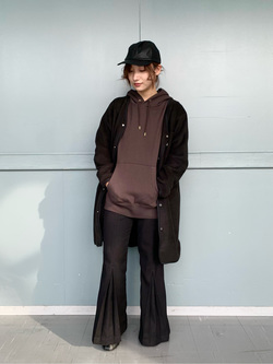 Lee アミュプラザ博多店のMISAKIさんのLeeの【ユニセックス】【やわらかフリース】ノーカラーコートを使ったコーディネート