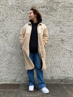Lee アミュプラザ博多店のMISAKIさんのLeeの【Pre sale】【ユニセックス】【着回し力抜群】フリース コートを使ったコーディネート