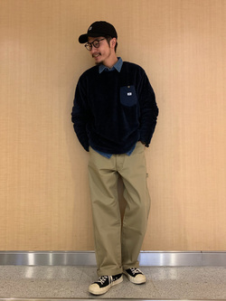 成田空港店(閉店)のYuukiさんのLeeの終了【FINAL SALE】フリース クルーネック 長袖【ユニセックス】を使ったコーディネート