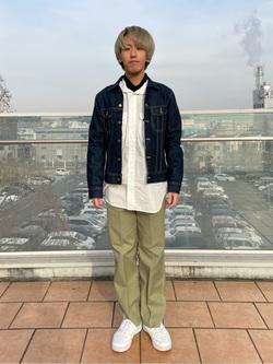 ららぽーと横浜のshoheiさんのLeeの【すっきりキレイに履ける】ペインターパンツを使ったコーディネート