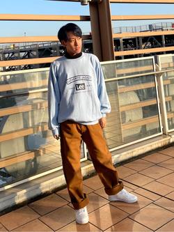 ららぽーと横浜のshoheiさんのLeeのビッグフィット トレーナー/スウェットを使ったコーディネート