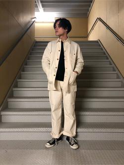 熊本COCOSA店のYuukiさんのLeeの【ユニセックス】DUNGAREES ペインターパンツを使ったコーディネート