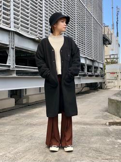 ルミネエスト新宿店のAyumiさんのLeeの【ユニセックス】【やわらかフリース】ノーカラーコートを使ったコーディネート