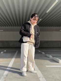 エスパル仙台店のnanakoさんのLeeの【ユニセックス】【やわらかフリース】ノーカラージャケットを使ったコーディネート