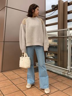 ららぽーと横浜のsatoさんのLeeのミリタリー パッチワークセーターを使ったコーディネート