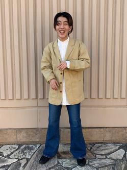 西宮ガーデンズ店のShimpeiさんのLeeのバンドカラーシャツ/長袖を使ったコーディネート