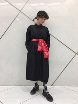 熊本COCOSA店のYUUKOさんのLeeの【Winter sale】ロング デニムシャツワンピースを使ったコーディネート