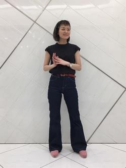 熊本COCOSA店のYUUKOさんのLeeの【シークレットセーール!!】【直営店&WEB限定】キャップスリーブカットソーを使ったコーディネート