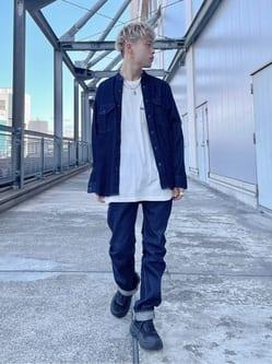 札幌パセオ店のgenさんのLeeのバンドカラーシャツ/長袖(デニム)を使ったコーディネート
