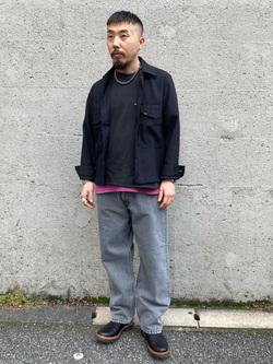 Lee アミュプラザ博多店のえんどうさんのLeeのBLACK RIDERS ワイドデニムパンツを使ったコーディネート