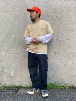 Lee アミュプラザ博多店のえんどうさんのLeeの【Lee×GRAMICCI(グラミチ)】バックプリント 半袖Tシャツを使ったコーディネート