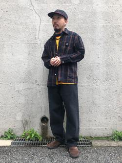 Lee アミュプラザ博多店のえんどうさんのLeeのオープンカラー チェック柄シャツ/長袖を使ったコーディネート