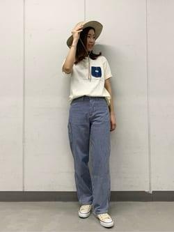 大阪店(閉店)のwakanaさんのLeeの【試着対象】【期間限定10%OFF】ペインター ワイドデニムパンツを使ったコーディネート
