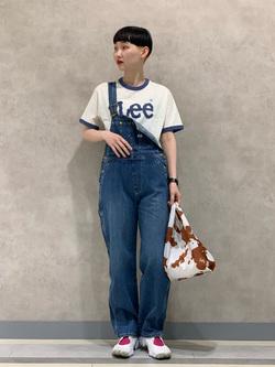 Lee 名古屋店のアンジェラさんのLeeのキッズ【直営店・WEB限定】リンガーTシャツ【100-150cm】を使ったコーディネート