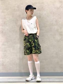 Lee 名古屋店のアンジェラさんのLeeの【TOPS 15%OFFクーポン対象】【SALE】ノースリーブ Tシャツを使ったコーディネート