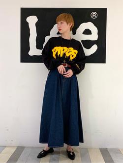 Lee 名古屋店のアンジェラさんのLeeのマキシスカートを使ったコーディネート