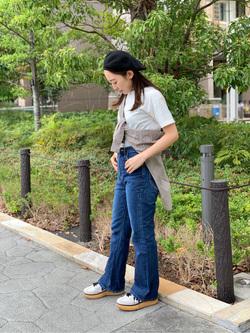 ららぽーと横浜のAyakaさんのLeeのスタンドカラー長袖シャツを使ったコーディネート