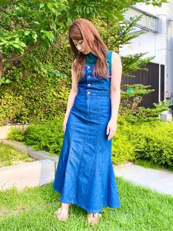 エスパル仙台店のkasumiさんのLeeのTRAD GIRL サロペット ロングスカートを使ったコーディネート