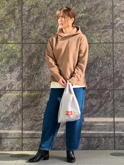LINKS UMEDA店のYUKIさんのEDWINの【Pre sale】F.L.E 袖ロゴプリント ロングTシャツ Bを使ったコーディネート