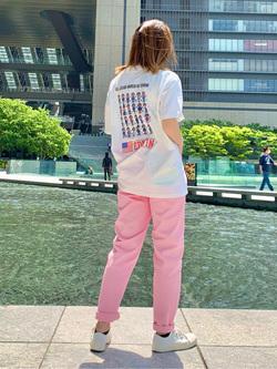 LINKS UMEDA店のYUKIさんのEDWINの【EDWIN 60周年限定】 クルーネック 半袖Tシャツ Bを使ったコーディネート