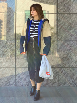 LINKS UMEDA店のYUKIさんのEDWINの【直営店限定】【子供から大人まで着られる】ボートネック バスクシャツ(ボーダー)【110-180cm】を使ったコーディネート