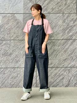 LINKS UMEDA店のYUKIさんのEDWINのボックスロゴ クルーネック 半袖Tシャツ (バンダナ)を使ったコーディネート