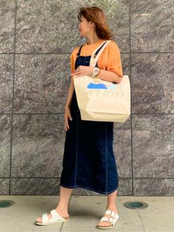 LINKS UMEDA店のYUKIさんのEDWINの終了【サマーセール】EDWINクラシックロゴ Tシャツ 半袖 (ポスター)を使ったコーディネート