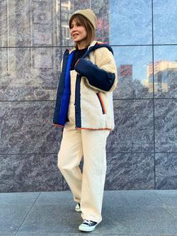 LINKS UMEDA店のYUKIさんのEDWINのF.L.E ボア フリースジャケットを使ったコーディネート