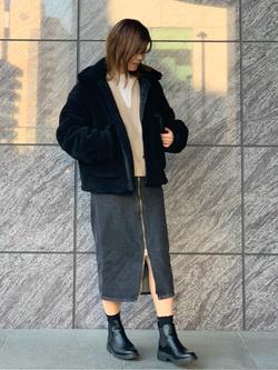 LINKS UMEDA店のYUKIさんのの【再値下げ Winter sale】ボア ミリタリージャケット レディースを使ったコーディネート
