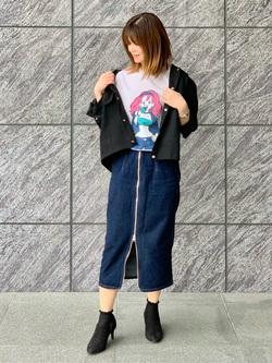 LINKS UMEDA店のYUKIさんのEDWINのEDWIN x 鎌田かまを アーティストコラボTシャツを使ったコーディネート