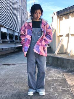 ルミネエスト新宿店のAzusaさんのLeeのパッチワーク ボアジャケットを使ったコーディネート