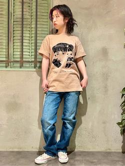 ルミネエスト新宿店のアンドウさんのLeeの【BuddyLee100周年記念】Lee×牛木匡憲 半袖Tシャツを使ったコーディネート