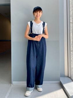 Lee アミュプラザ博多店のMarikoさんのLeeの【SALE】ハイウエスト サスペンダーパンツ/フリスコパンツを使ったコーディネート