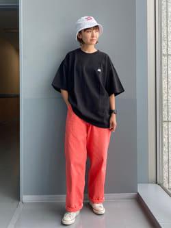 Lee アミュプラザ博多店のMarikoさんのLeeの【TOPS 15%OFFクーポン対象】【SALE】【鹿の子素材】ワンポイント 半袖Tシャツを使ったコーディネート