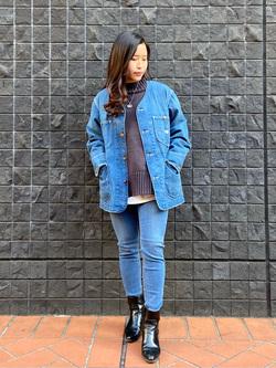 大阪店のRunaさんのLeeの【再値下げ Winter sale】【着回し力抜群】ノーカラー デニムジャケットを使ったコーディネート