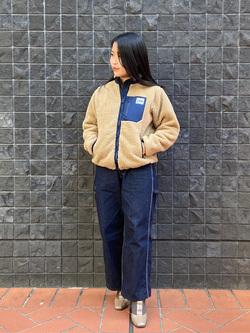 大阪店のRunaさんのLeeのキッズ あったかボア 配色ジャケット【105cm-150cm】を使ったコーディネート