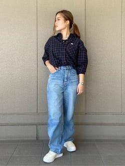 ルクア大阪のRunaさんのLeeのチェック柄 長袖シャツを使ったコーディネート