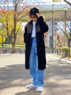 Lee 名古屋店のyuzukiさんのLeeの終了【Winter sale】【ユニセックス】【着回し力抜群】フリース コートを使ったコーディネート