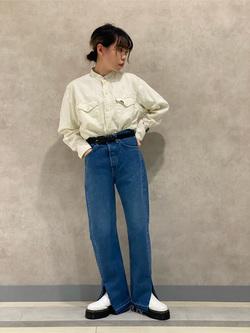 Lee 名古屋店のyuzukiさんのLeeのバンドカラー デニム/コットン 長袖シャツを使ったコーディネート