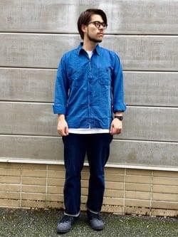 TOKYO HARAJUKU店のSHIZUKUさんのEDWINの【SALE】【コンセプトショップ限定】INDIGO GARMENTS シアサッカーシャツ 長袖を使ったコーディネート