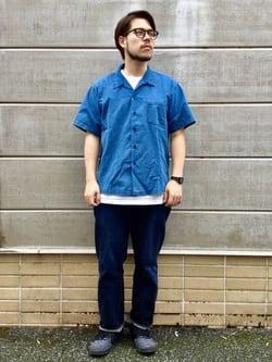 TOKYO HARAJUKU店のSHIZUKUさんのEDWINの【TOPS 15%OFFクーポン対象】【コンセプトショップ限定】INDIGO GARMENTS シアサッカーシャツ 半袖を使ったコーディネート