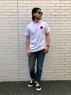 TOKYO HARAJUKU店のSHIZUKUさんのEDWINの【コンセプトショップ限定】EDWIN EUROPE JAPANESE SUN TEEを使ったコーディネート
