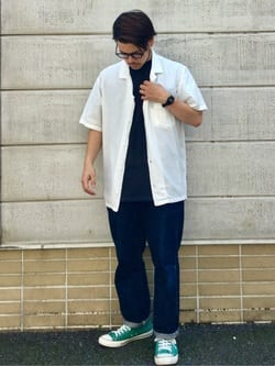 TOKYO HARAJUKU店のSHIZUKUさんのEDWINの【TOPS 15%OFFクーポン対象】【EDWIN 60周年限定】 半袖シャツを使ったコーディネート