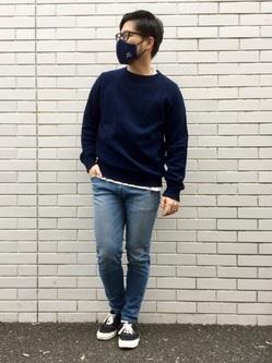 TOKYO HARAJUKU店のSHIZUKUさんのEDWINの【コンセプトショップ限定】INDIGO GARMENTS CREWNECK KNITを使ったコーディネート