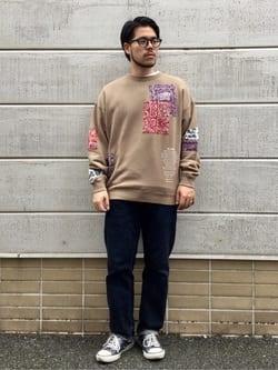 TOKYO HARAJUKU店のSHIZUKUさんのEDWINの【コンセプトショップ限定】EDWIN x reyn spooner CREW SWEAT SHIRTSを使ったコーディネート