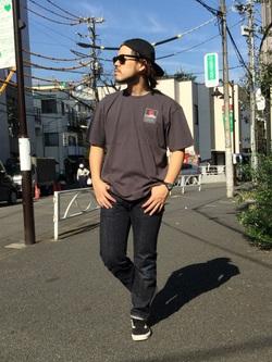 TOKYO HARAJUKU店のSHIZUKUさんのEDWINの【コンセプトショップ限定】EDWIN EUROPE SUNSET ON MT.FUJI TEEを使ったコーディネート