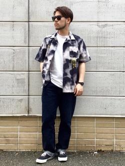 TOKYO HARAJUKU店のSHIZUKUさんのEDWINの【コンセプトショップ限定】EDWIN EUROPE PHOTO COPY SHIRTを使ったコーディネート